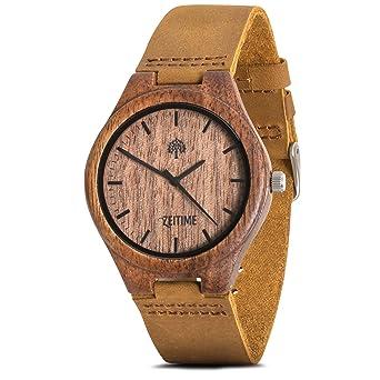 zeitime Reloj de madera auténtica madera de nogal | Woody | 100% real de piel Armand | Producto natural | Hombre y Mujer Madera Reloj de pulsera: Amazon.es: ...