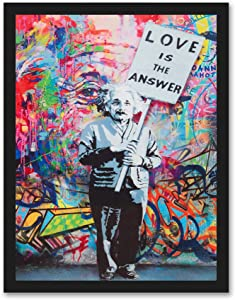 """Einstein """"Love is the Answer"""" Colorful Figure Street Graffiti - FRAMED - Canvas Print Home Decor Wall Art, Black Real Wood Frame, 14x18"""