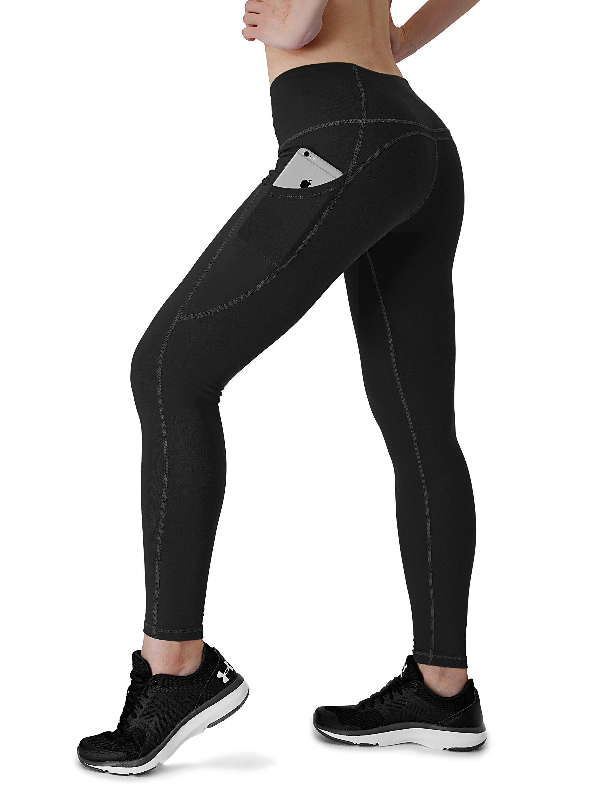 Dyorigin Leggings for Women – High-Waisted Tummy Control Compression Yoga Leggings Athletic Pants with Pockets (Black L)