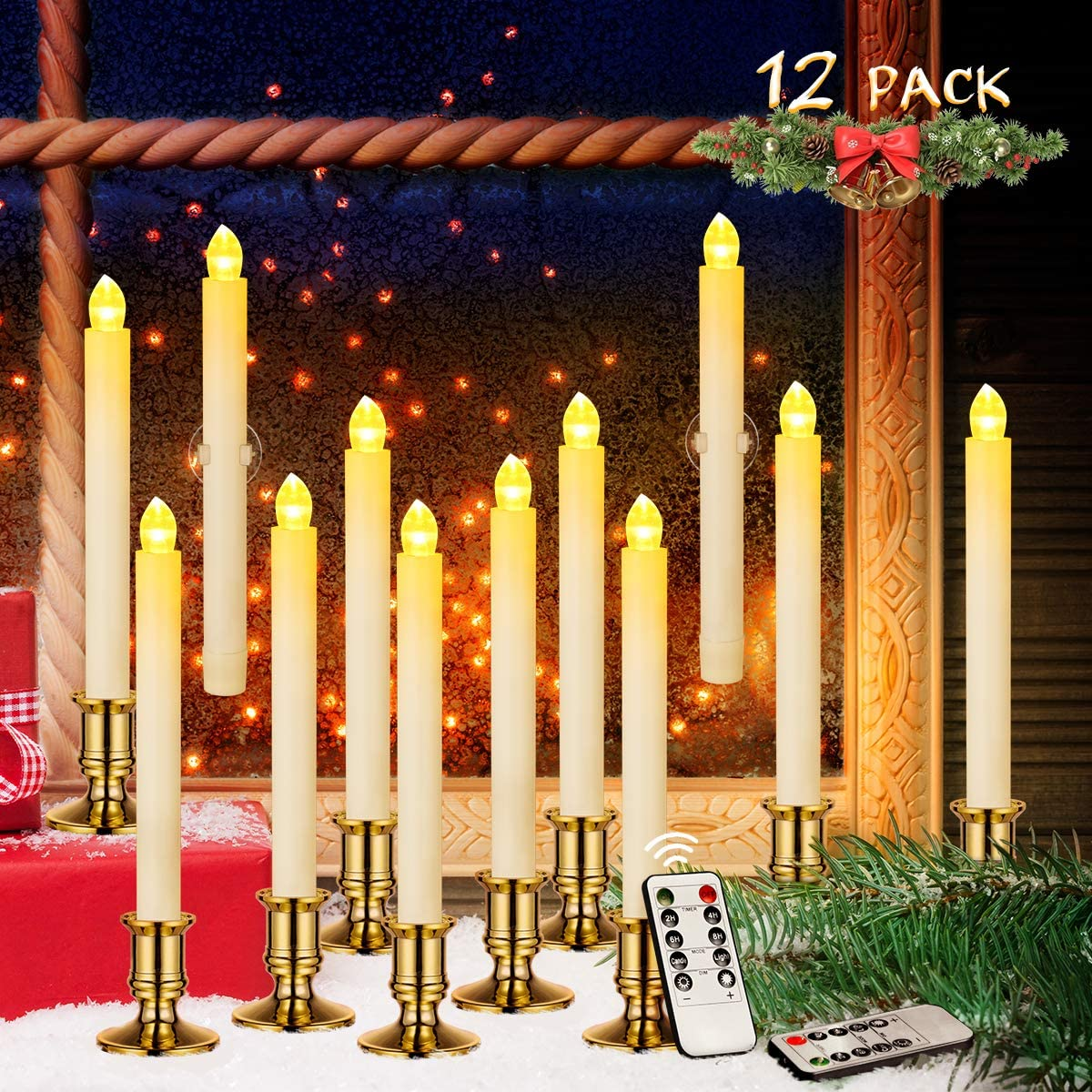 Window Candles, 12 Pack Battery Powered Window Candles Flameless Taper Candles for Window, Holiday Decorations