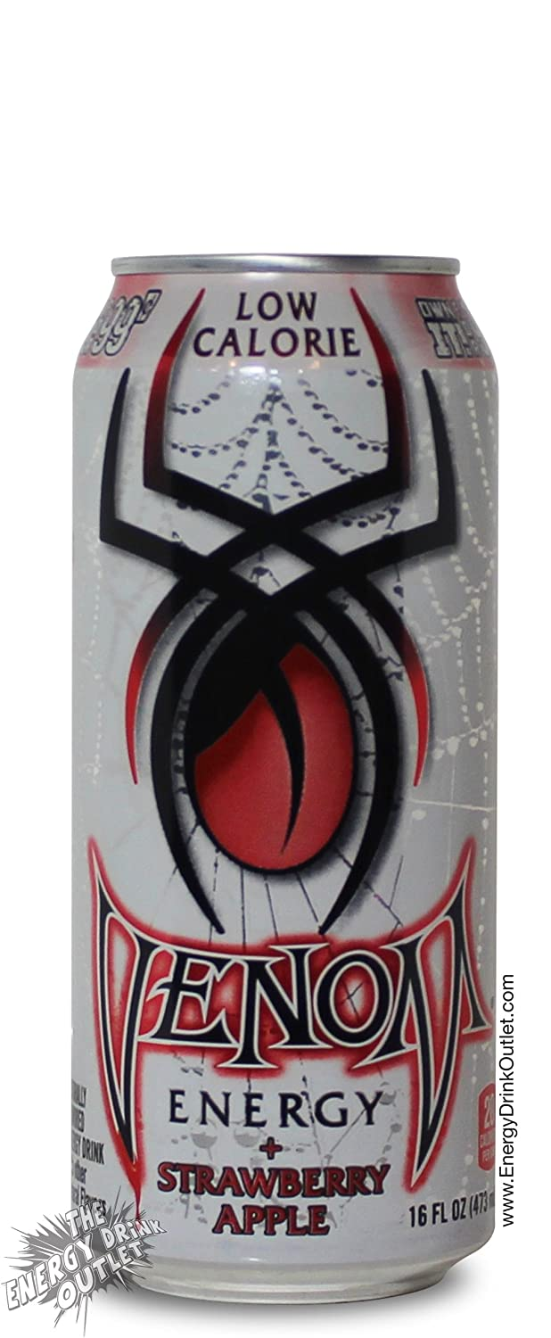 Venom Energy Low Calorie Strawberry Apple Drink, 16 Ounce (16 Cans)