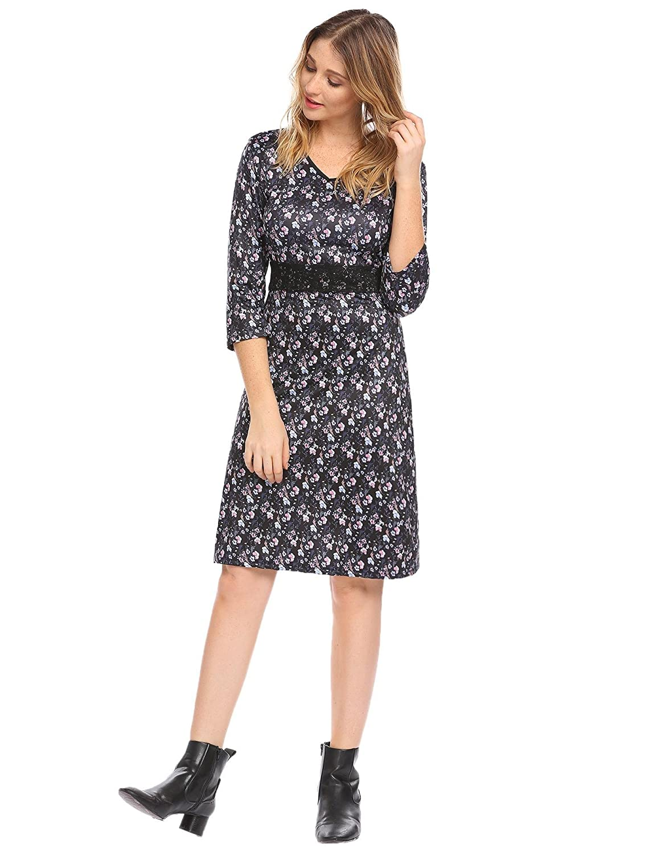 b24077ed11fe Chigant Damen Kleid Elegant Spitzen Taillenbund Blumenkleid 3/4 Arm  Knielang Partykleider Freizeitkleider