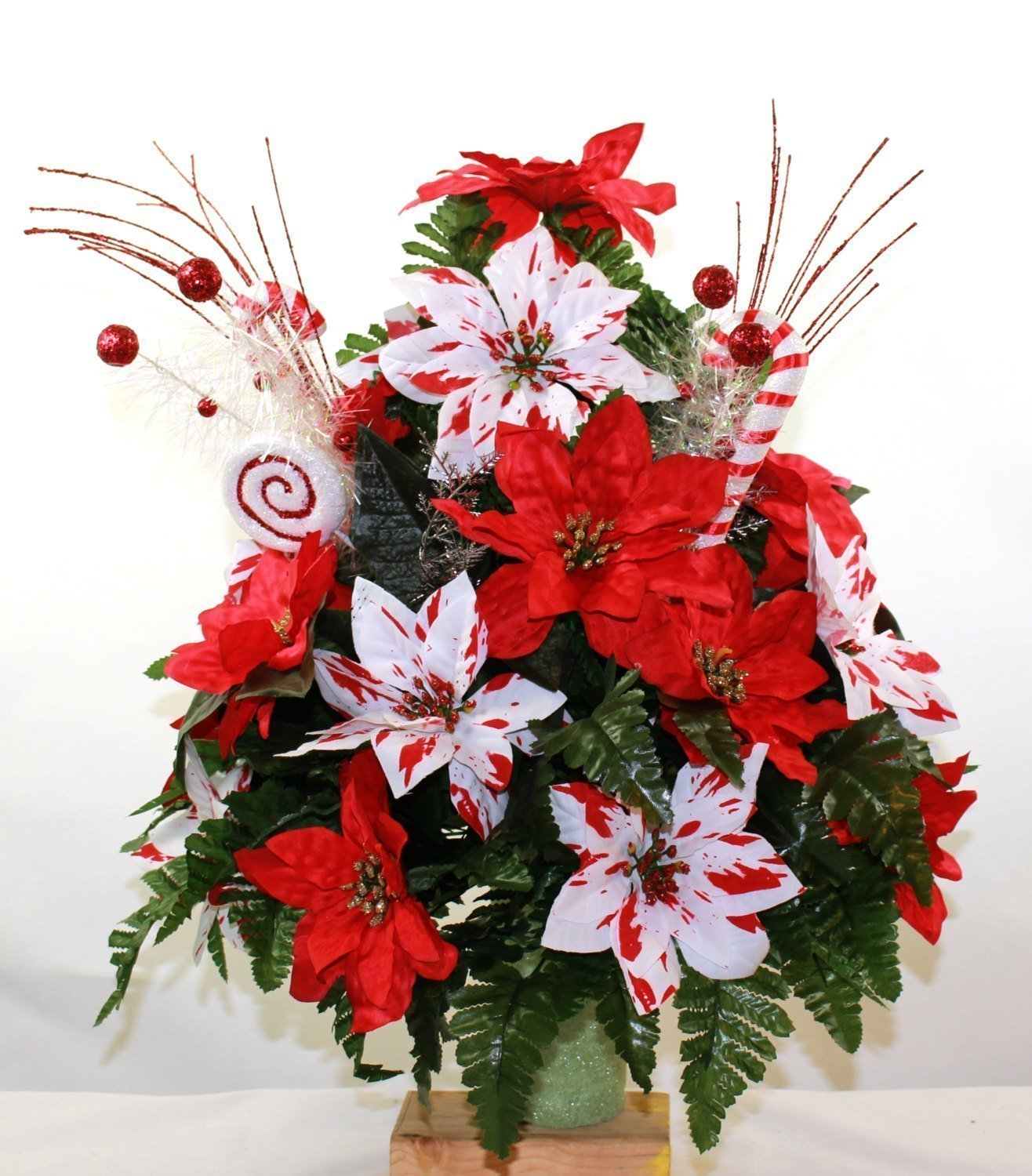 Beautiful XL Christmas Red & White Poinsettia's With Candy Canes Cemetery Vase Arrangement