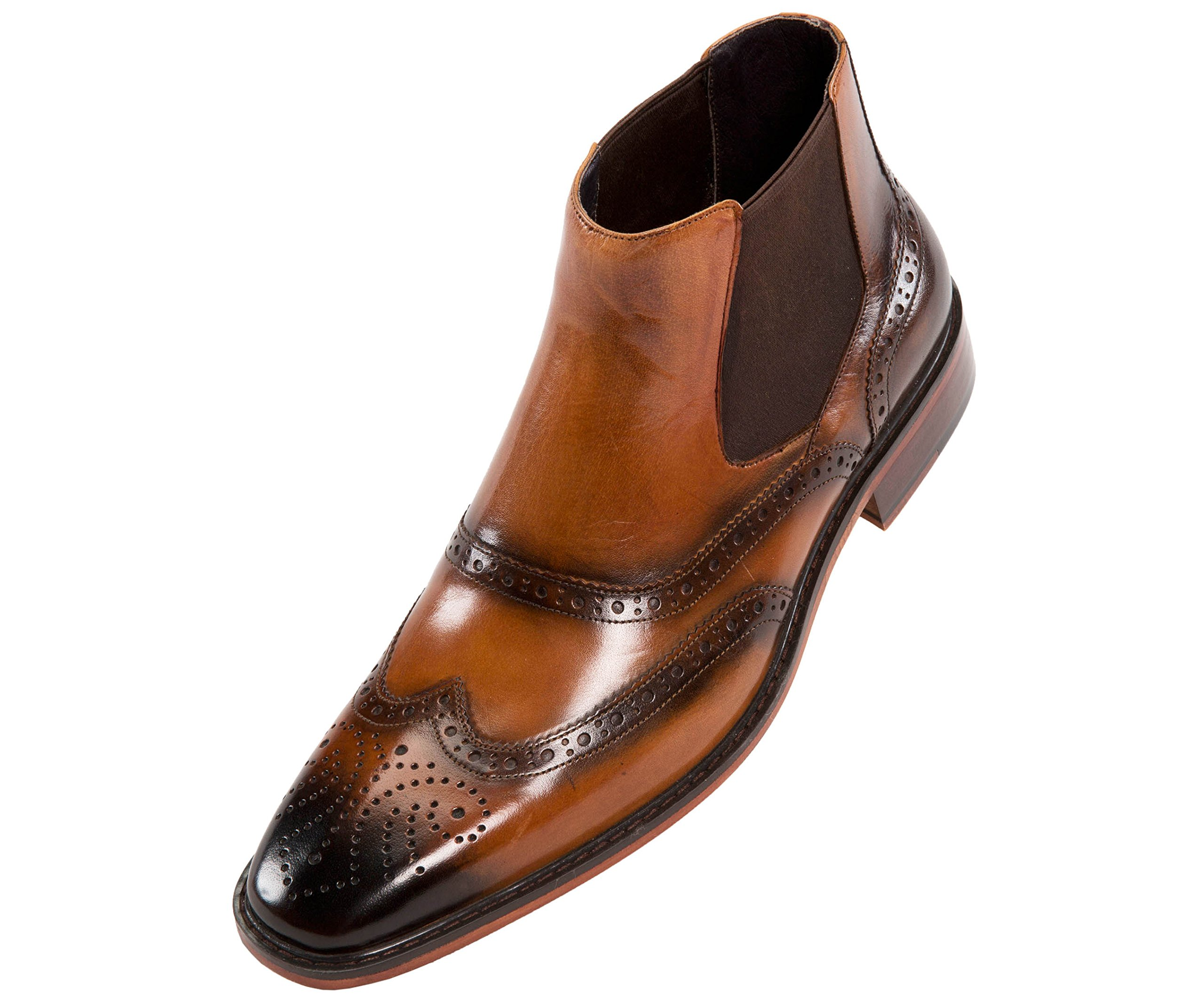 Asher Green Mens Double Gore Leather Wingtip Dress Boot, Slip-On Boot, Wood-Like Sole, Style AG2632