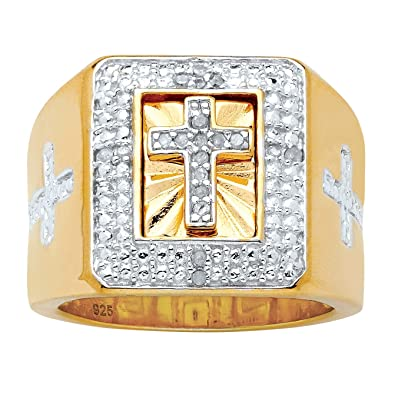 e5550c53cc167 Men's 14K Yellow Gold over Sterling Silver Round Genuine Diamond Accent  Cross Ring (1/10 cttw, I Color, I3 Clarity)