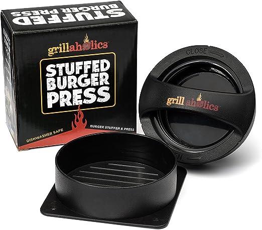 Grillaholics Stuffed Burger Press /& Non Stick Hamburger Patty Maker for Burgers