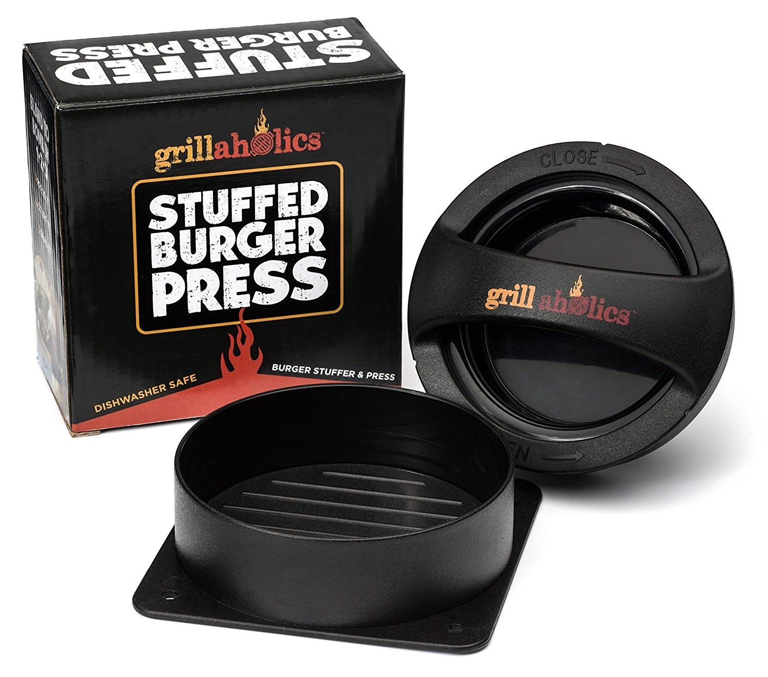 Grillaholics Stuffed Burger Press and Recipe eBook - Extended Warranty - Hamburger Patty Maker for Grilling - BBQ Grill Accessories by Grillaholics