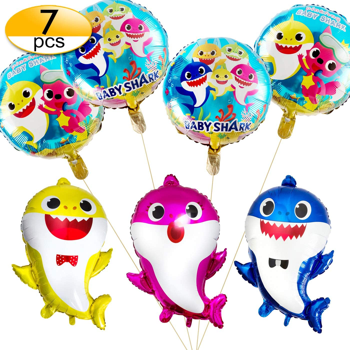 7 pcs Baby Shark Balloons, Baby Cute Shark Party Supplies Foil Balloons for Baby Birthday, Baby Shower Children Birthday Party Decorations
