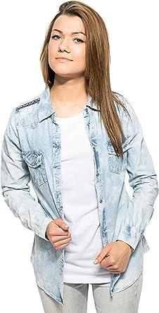 Bellfield – Camisa de Denim lavado Jeans – Camiseta para mujer – broche de presión botón Azul azul vaquero Medium: Amazon.es: Ropa y accesorios