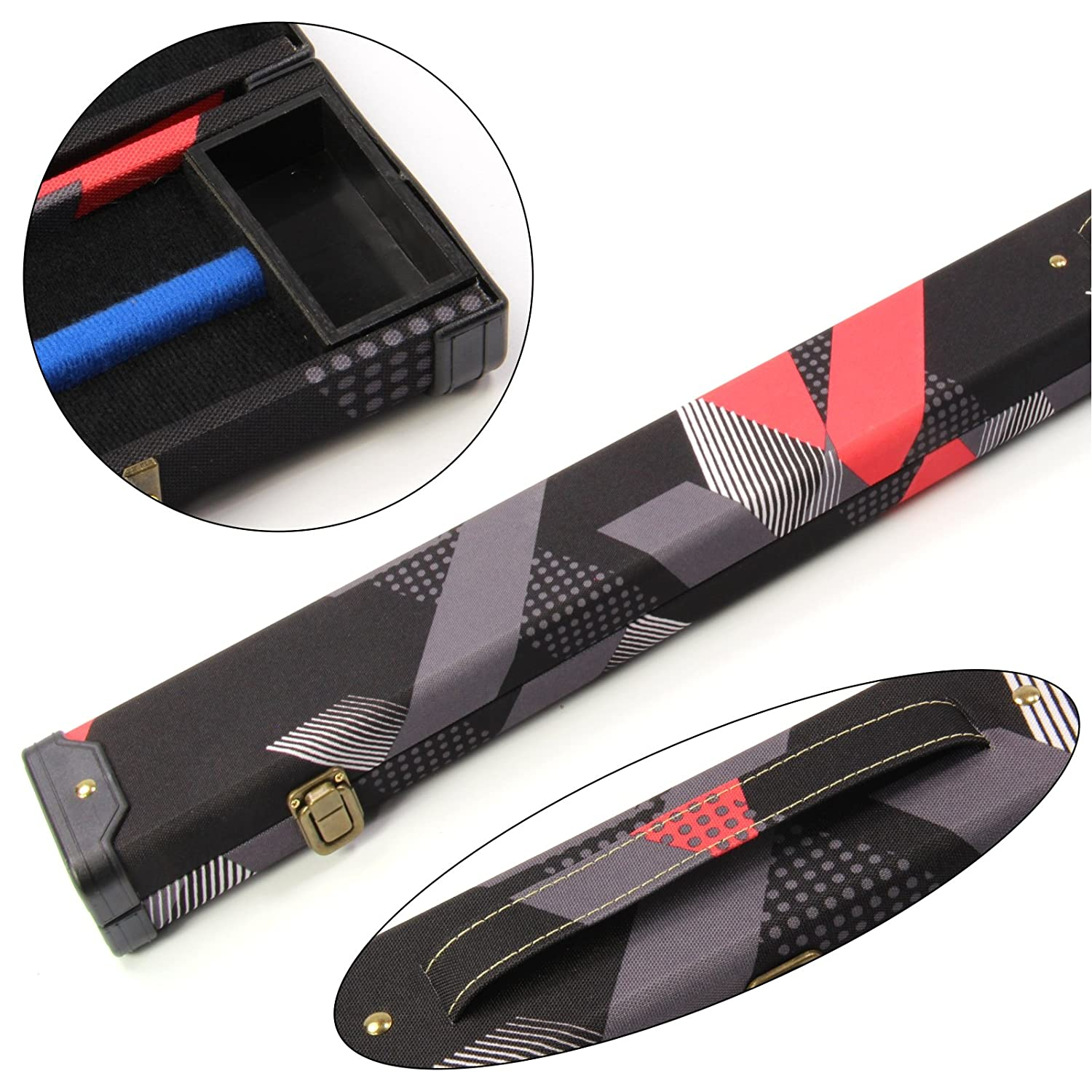 2 Cue 80s RED & BLACK 1PC Pool Snooker Cue Case - Holds 2 Cues Funky Chalk