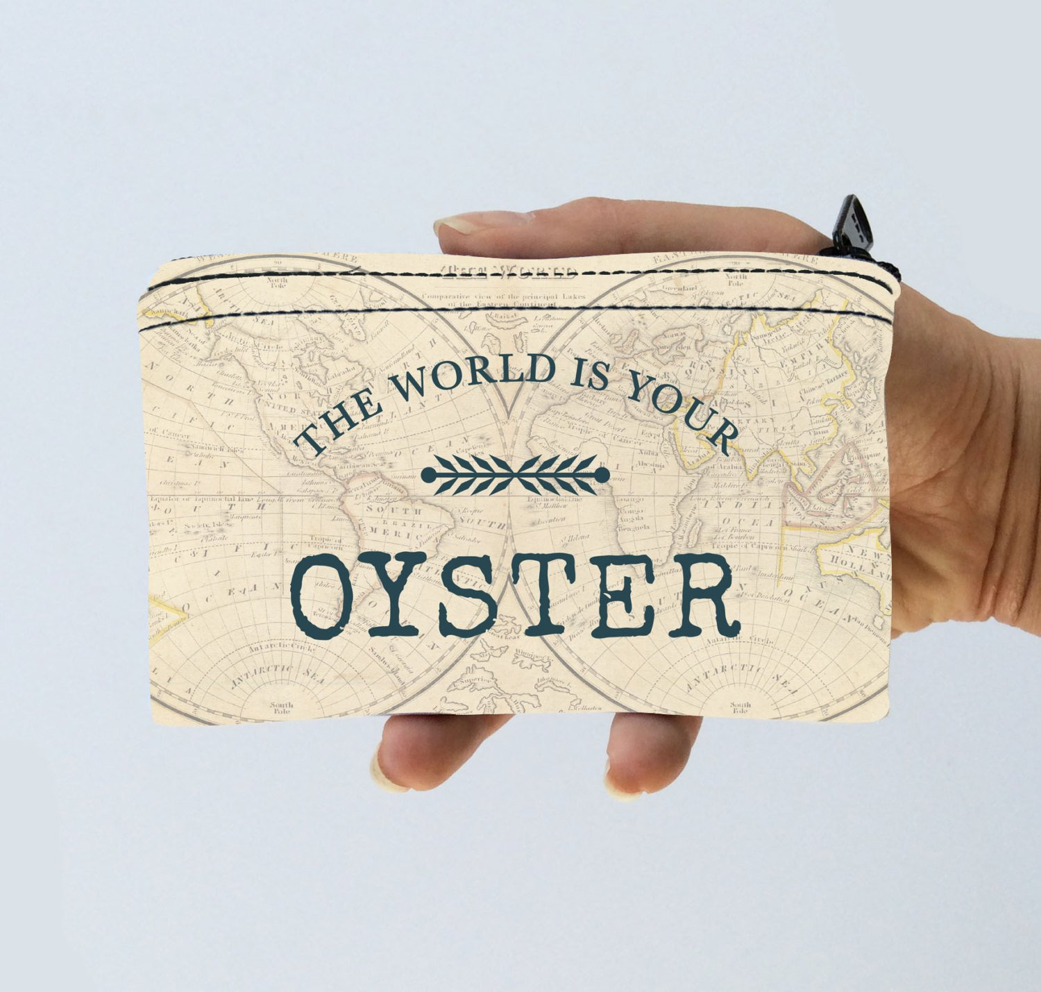 Vintage World Map Little Zipper Pouch The World is Your Oyster - World Map Coin Purse - Gadget Case Padded