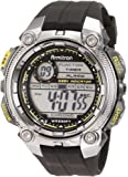 Armitron Sport Men's 40/8255GRY Chronograph Black Resin Yellow Accented Oversized Digital Watch