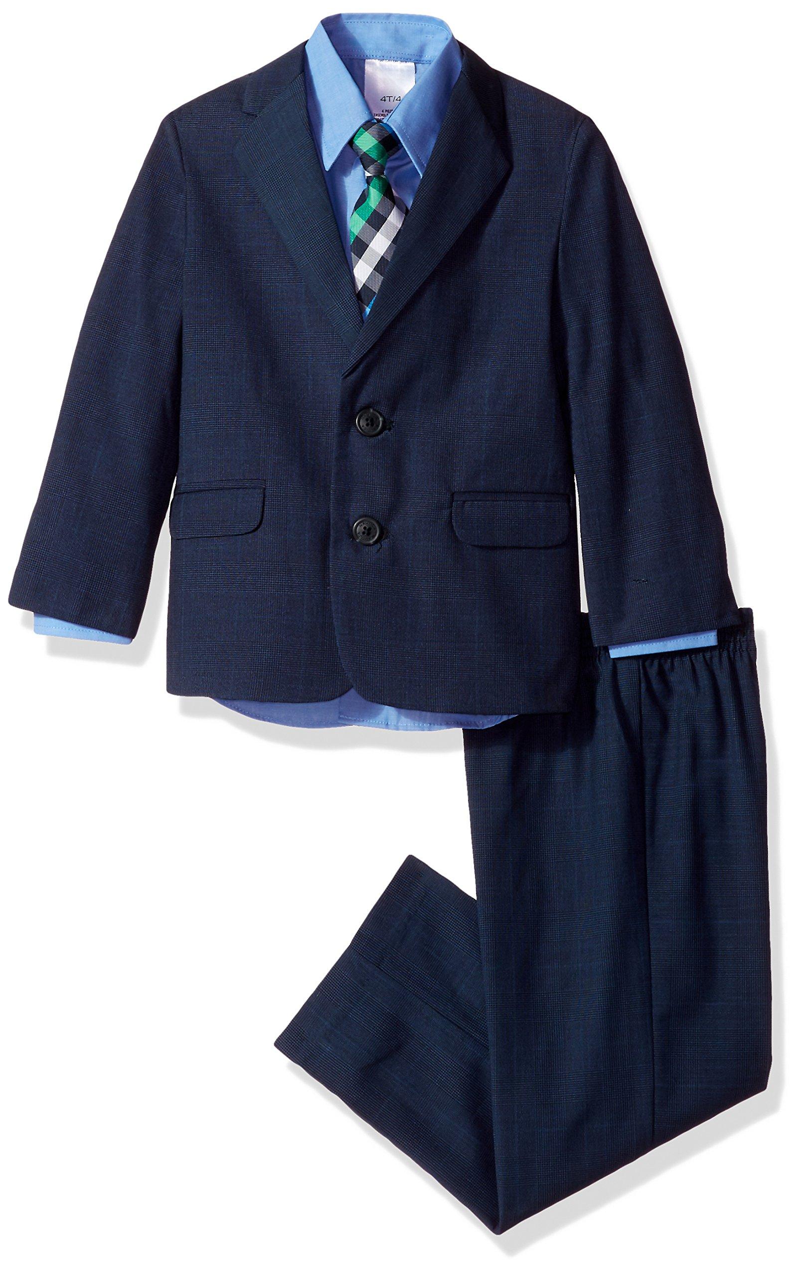 Nautica Boys' 4-Piece Suit Set with Dress Shirt, Tie, Jacket, and Pants, Navy/Navy, 5