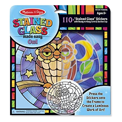 Melissa & Doug Stained Glass Made Easy Activity Kit, Owl (Arts and Crafts, Develops Problem Solving Skills, 110+ Stickers, Great Gift for Girls and Boys - Best for 5, 6, 7 Year Olds and Up): Toy: Toys & Games