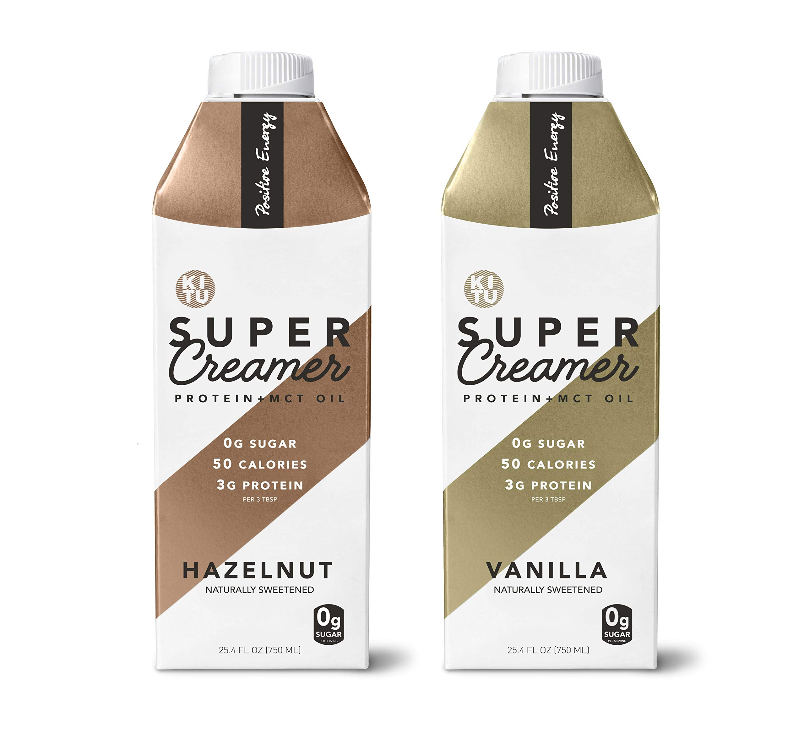 Kitu by Sunniva Super Creamer with Protein and MCT Oil, Keto Approved, 0g Sugar, 3 g Protein, 50 Calories, Vanilla and Hazelnut 2-Pack Variety by SUNNIVA SUPER COFFEE