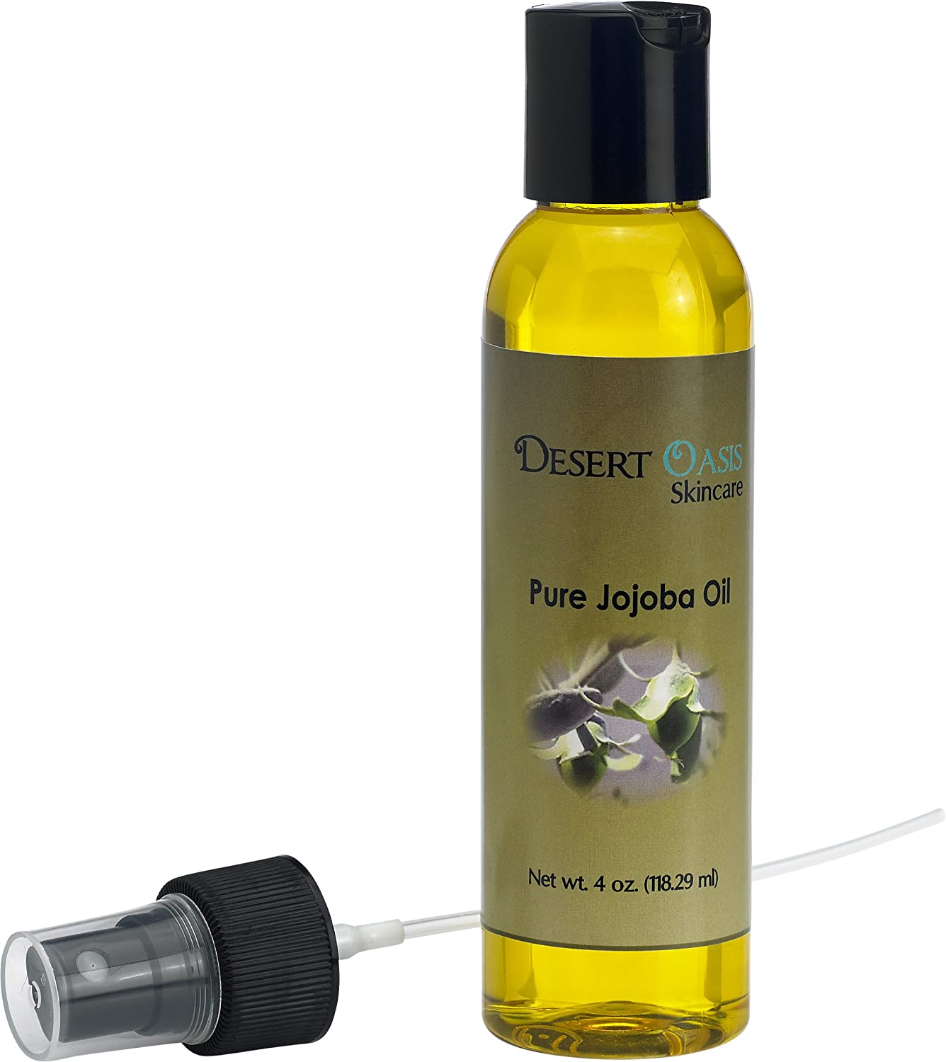 100% Pure Jojoba Oil, Cold Pressed, 4 fluid oz (118 ml) with spray applicator, Grown and pressed in USA