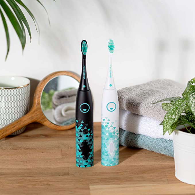 happybrush® Electric Sonic Toothbrush Vibe 3   Electric Toothbrush Black with Electric Toothbrush Head, 3 Replacement Toothbrush Heads and Teeth