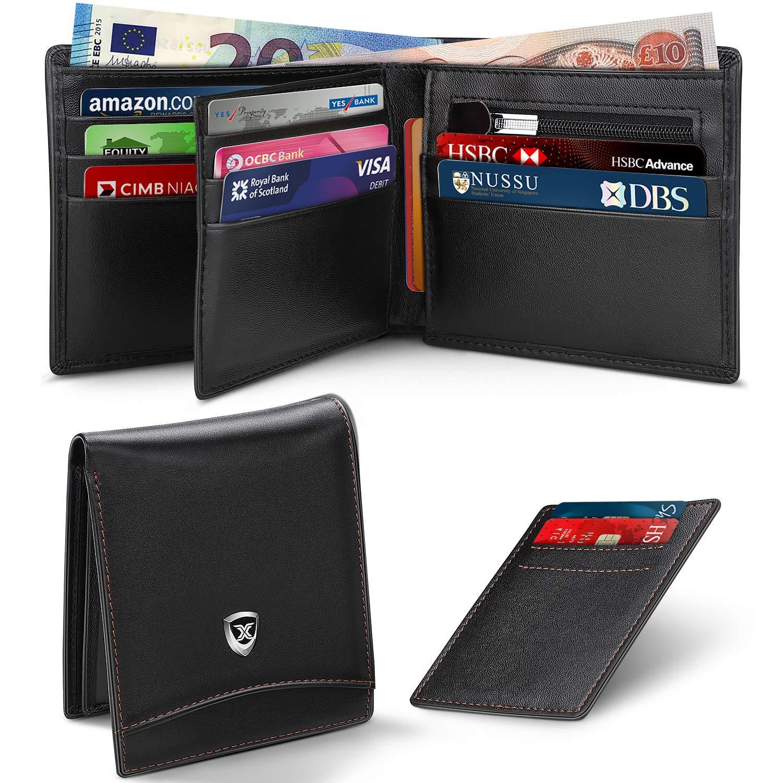 XUPER RFID Blocking Wallet for Men,Genuine Leather Credit Card Holder with  12 Card Slots & Zipper Coins Pocket/Slim Two Folded Square Short Wallet