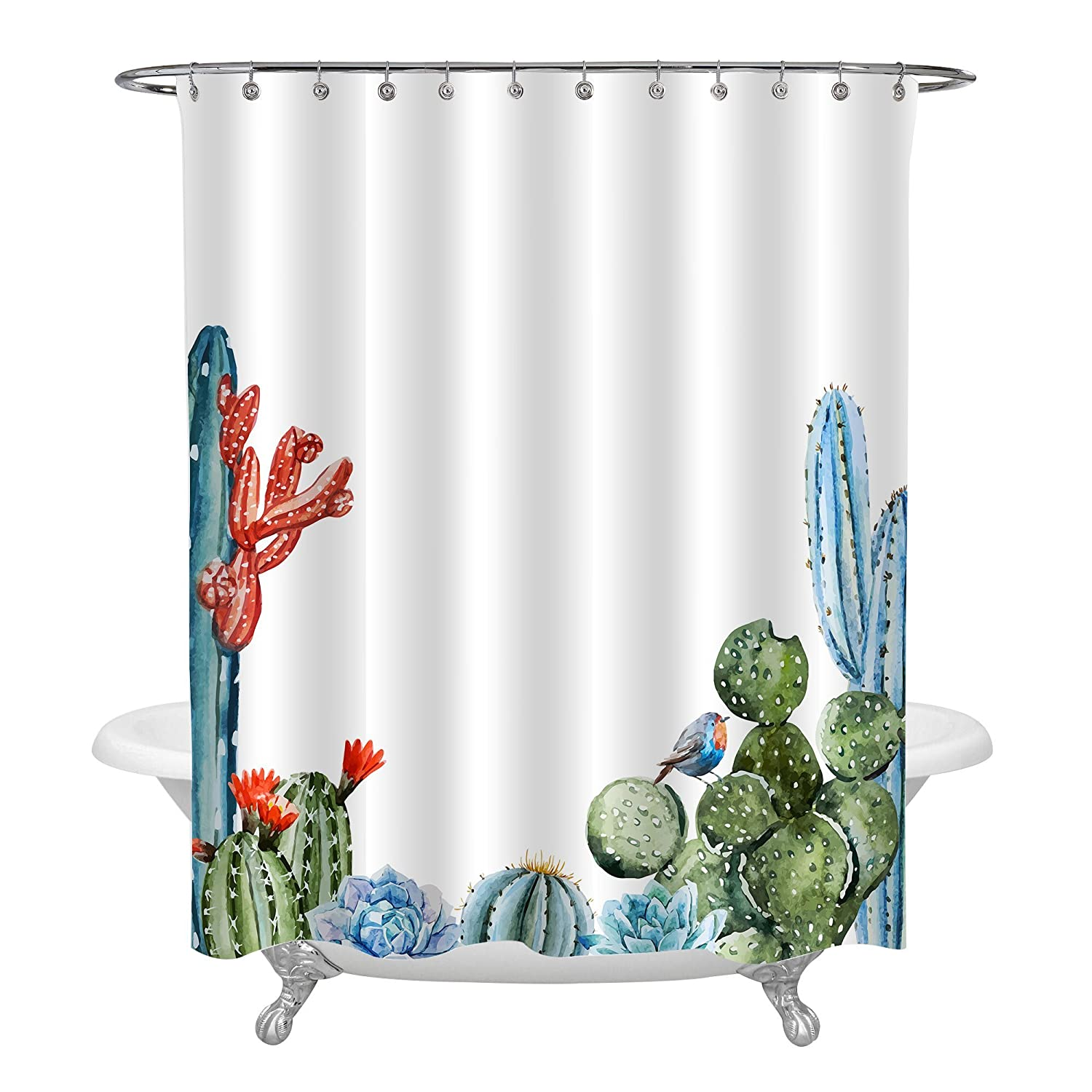 Cartoon Alpaca with Green Succulent Plant Home Decor 72x72 Standard Size SC-083009-72-72 Birthday Presents for Children MitoVilla Texas Blossom Cactus Shower Curtain Animal Themed Peru Llama Bathroom Accessories