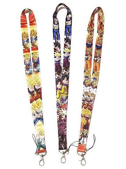 # 3 Pcs New Dragon Ball Z Lanyards Super Saiyan Son Goku Mobile Phone ID Holder Neck straps Lanyard keychain