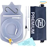 Premium-Enema Silicone Enema Bag Kit. Non-Toxic. BPA and Phthalates Free. Suitable For Home, Water & Coffee Colon Cleansing. 2 Quart Bag. Clear Transparent Color.