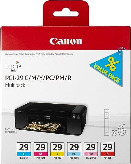 Canon PGI-29 6 Cartuchos Multipack de tinta original C/M/Y/PC/PM/R para Impresora de Inyeccion de tinta Pixma PRO1