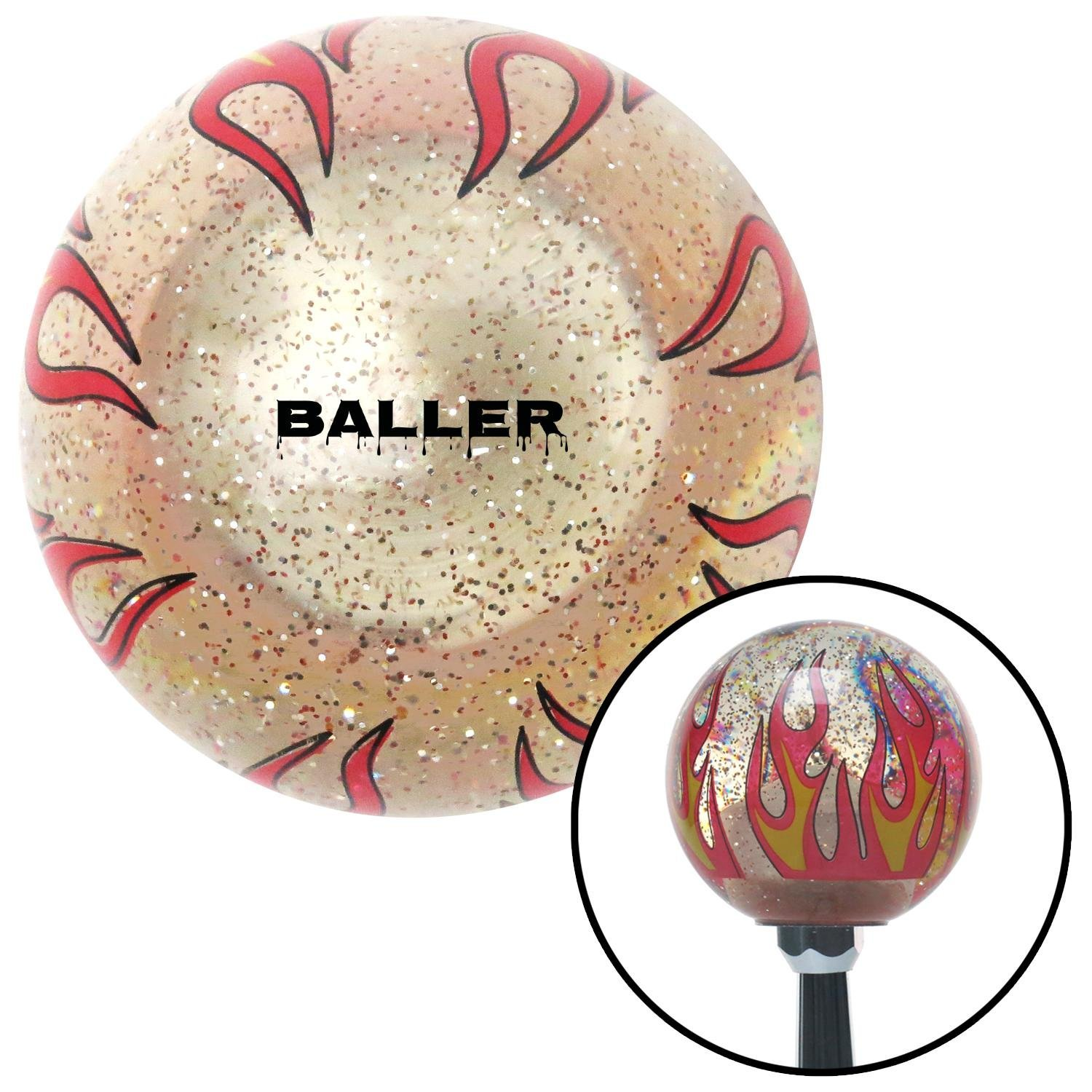 Black Baller Clear Flame Metal Flake with M16 x 1.5 Insert American Shifter 296148 Shift Knob