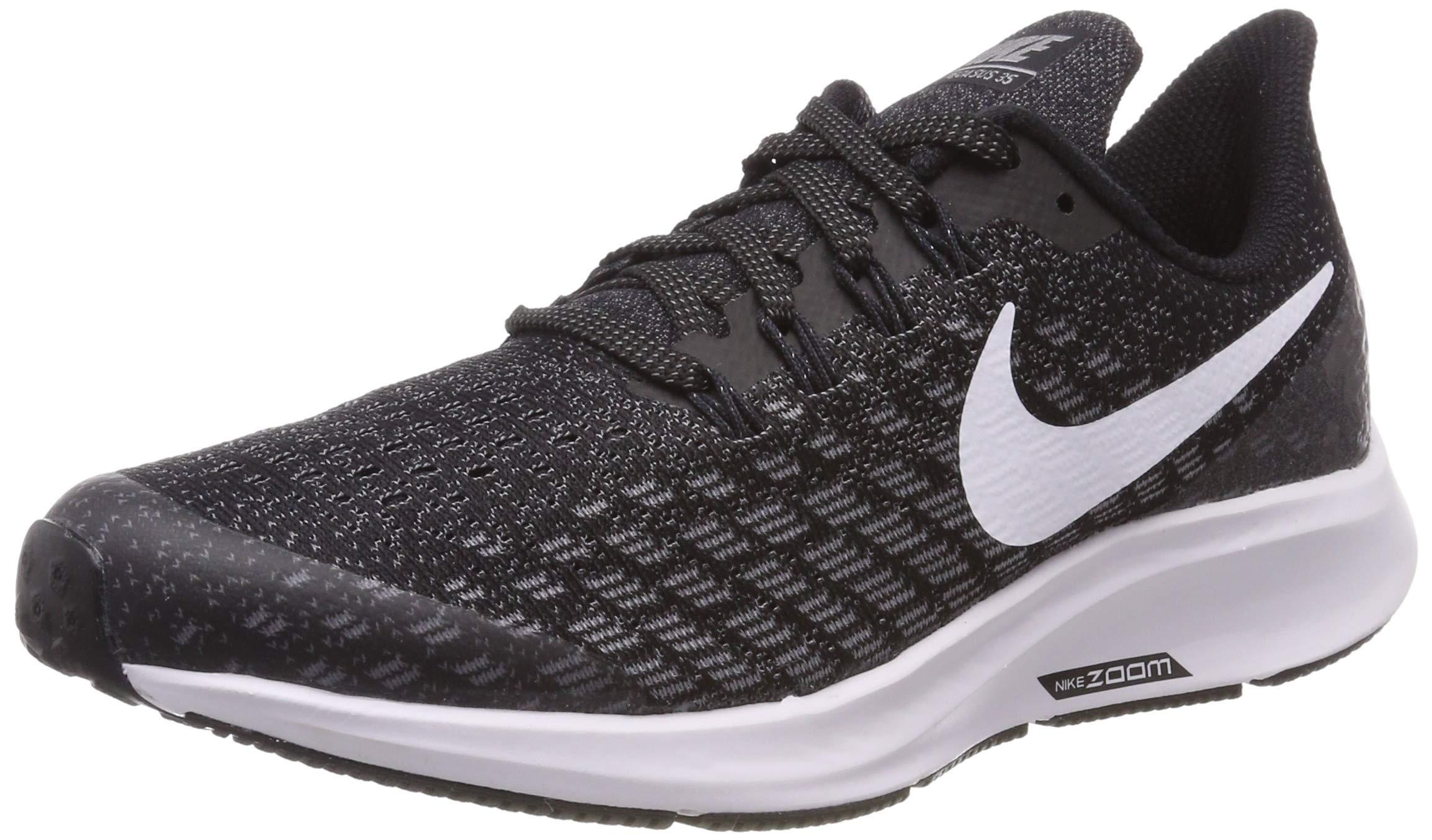 Nike Boy's Air Zoom Pegasus 35 Running Shoe Black/White/Gunsmoke/Oil Grey Size 4.5 M US