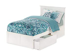 Atlantic Furniture Nantucket Platform Bed with 2 Urban Bed Drawers, Twin XL, White