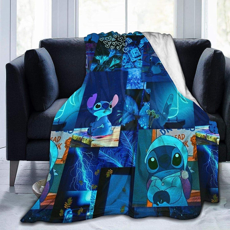 Soft Flannel Blanket Retro Lilo & Stitch Lovely Blue Stitch Splicing 80