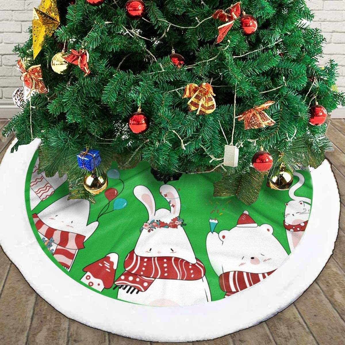 GOWINEU 30 Inch Christmas Tree Skirt with Blue Water Design Indoor Outdoor Gift for Children Family