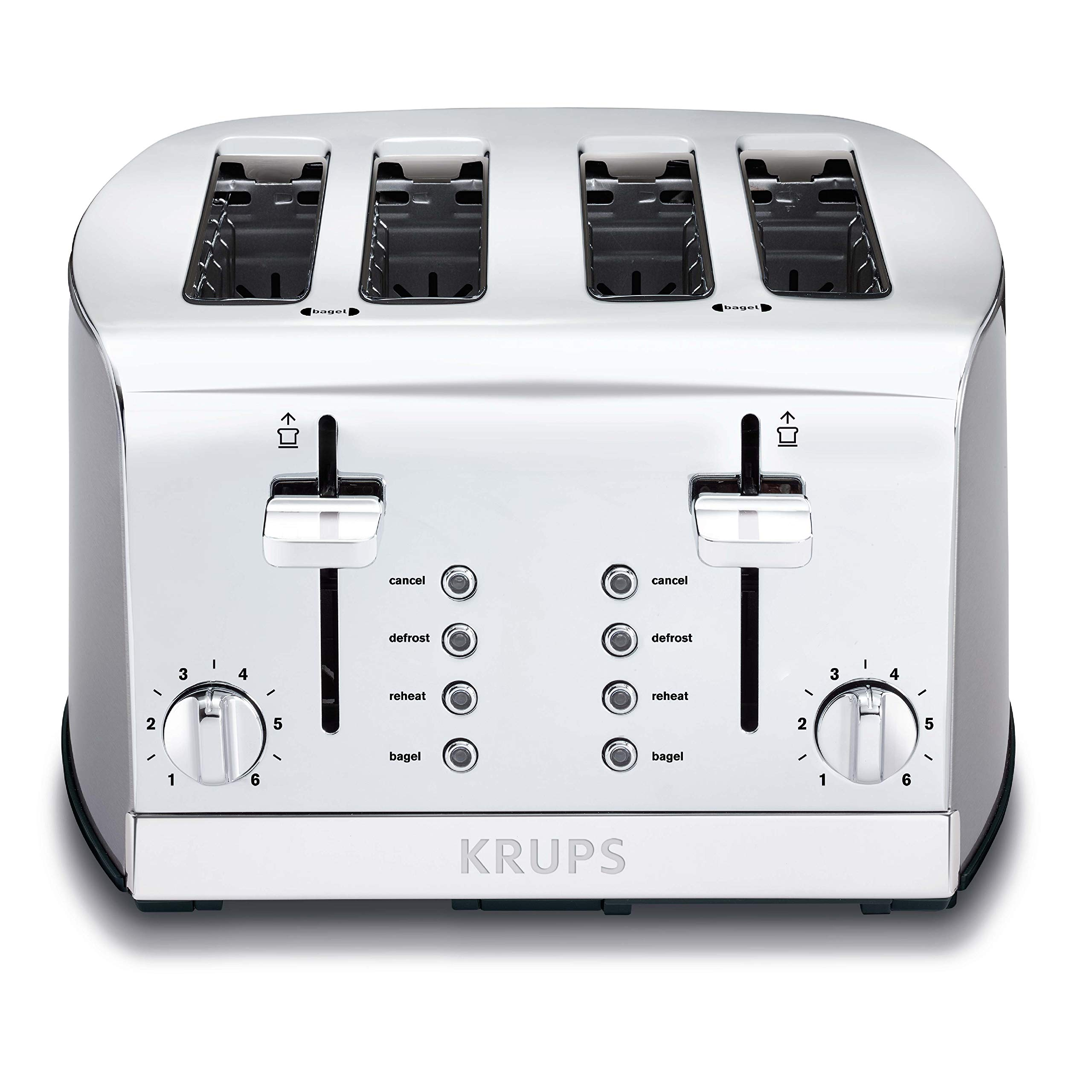KRUPS KH734D Breakfast Set 4-Slot Toaster with Brushed and Chrome Stainless Steel Housing, 4-Slices with Dual Independent Control Panel, Silver by KRUPS