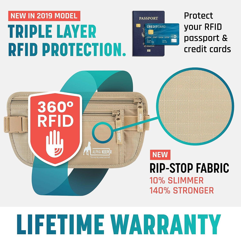 Alpha Keeper RFID Schutz Bauchtasche Damen und Sicherheits G/ürteltasche Herren zum Verreisen mit RFID Schutzh/üllen f/ür den t/äglichen Gebrauch//neustes Modell 2019