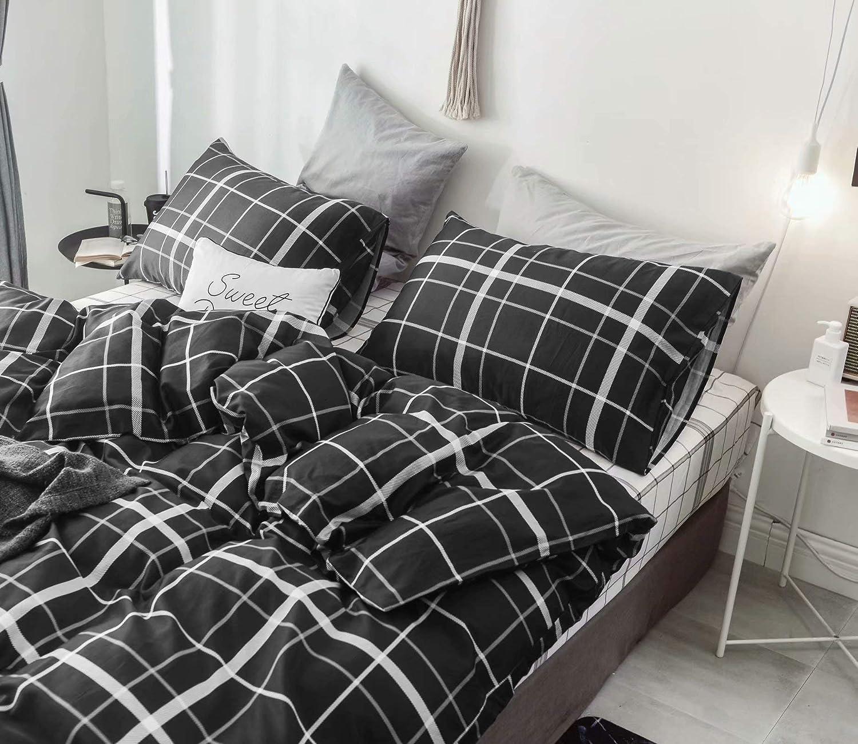 karever Black Checkered Duvet Cover Set Twin Plaid Bedding Set Tartan Geometric Comforter Cover Sets Black Grid with White Lines