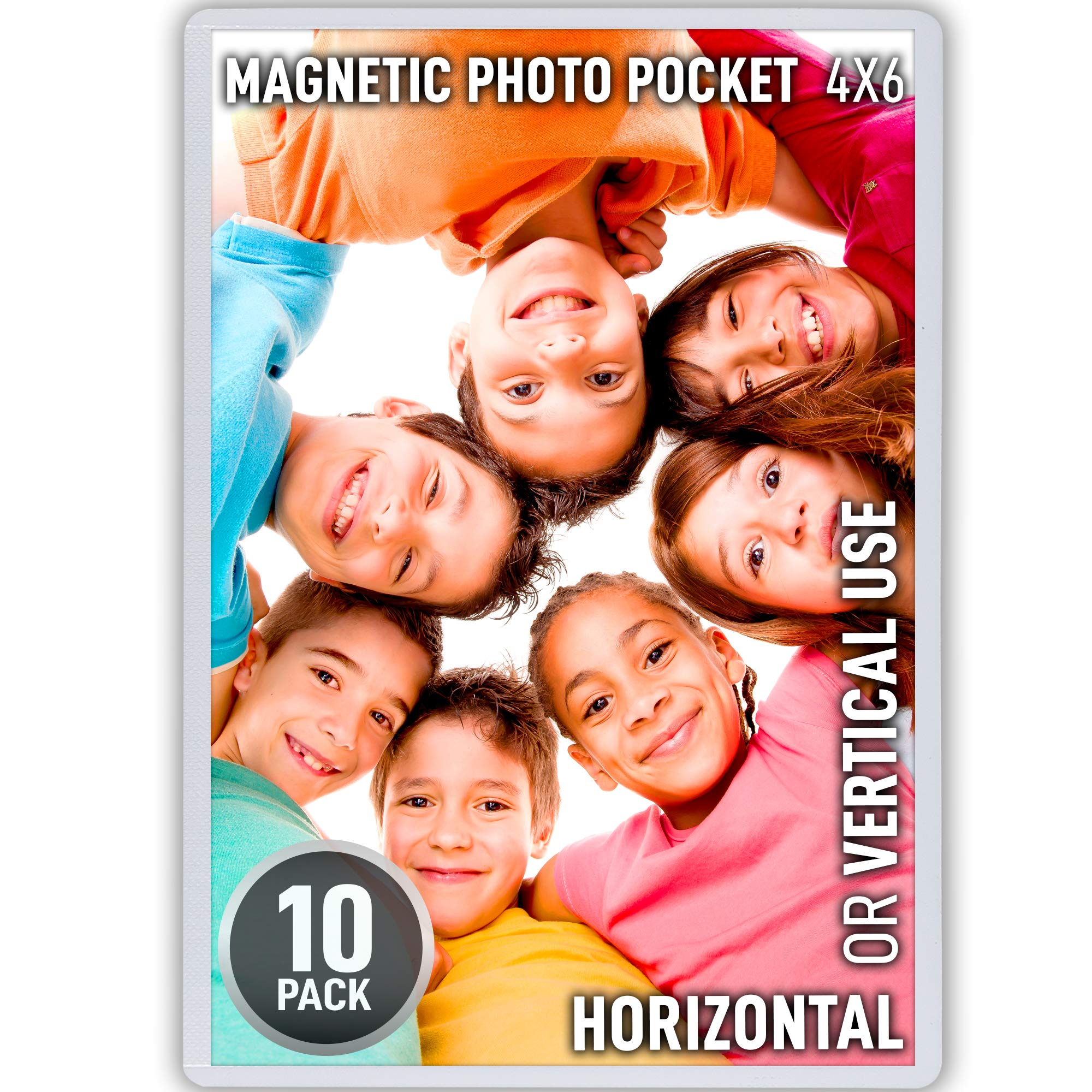 Magnetic Picture Frames with Thicker & Stronger Flexible Design - 10 Pack Fridge Photo Magnets with Sturdy, Extra Thick and Powerful Magnetic Frame, Securely Holds 4x6 Inch Photos - by Zulay Kitchen