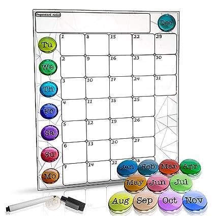 Amazon Com Monthly Magnetic Refrigerator Calendar Dry Erase