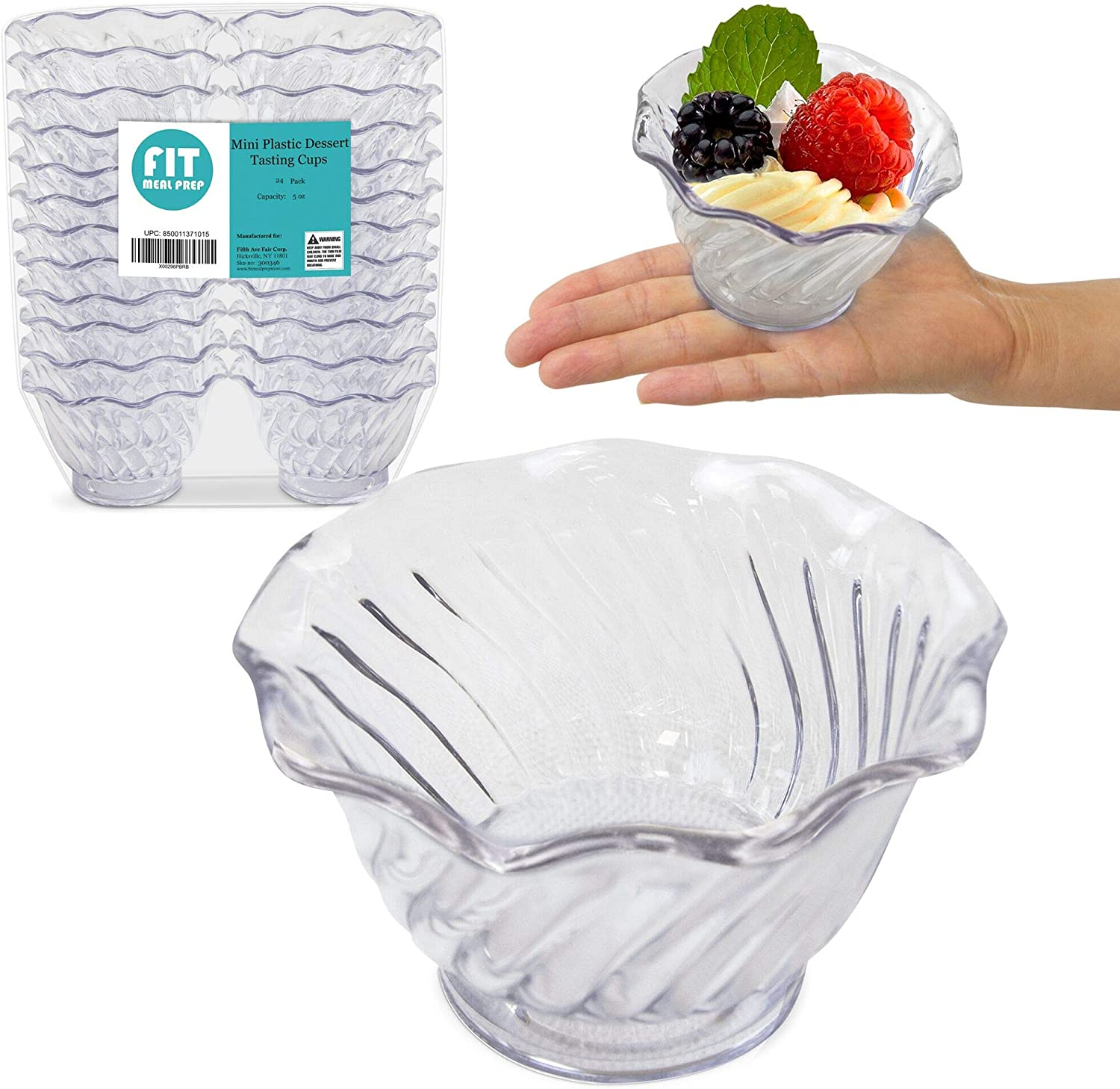Amazon Com 24 Pack Plastic Dessert Cups 5 Oz Clear Mini Ice Cream Sundae Tasting Bowls Individual Swirl Tulip Shape Dish Holder Salad Appetizer Chocolate Candy Serving In Party Buffet Commercial Home