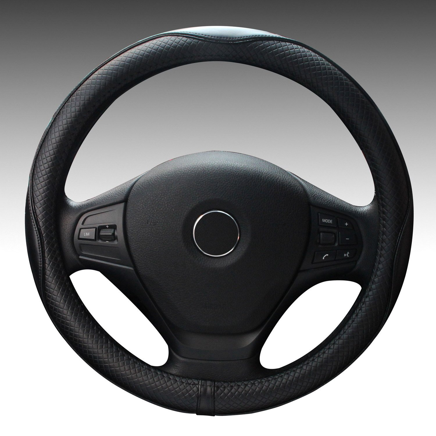 Premium Genuine Leather Steering Wheel Cover Universal 15 Inch - Anti-Slip Solid and Has Decent Traction Black