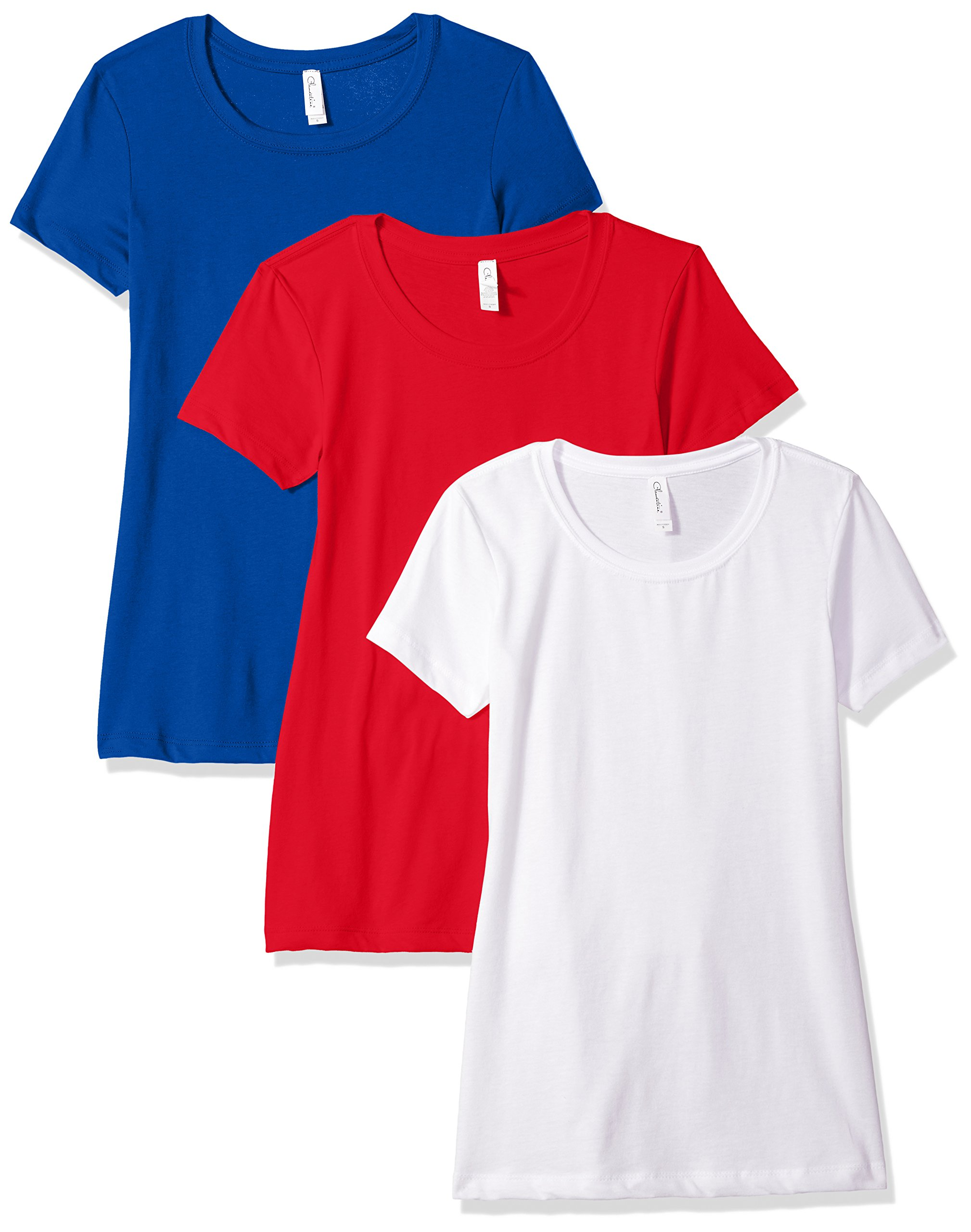 Clementine Apparel Women's Petite Plus Ideal Crew-Neck T-Shirts (Pack of 3), WhiteRedRoyal, S