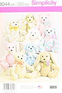 Simplicity US8044OS Children's Stuffed Animal Toy Sewing Pattern, One Size