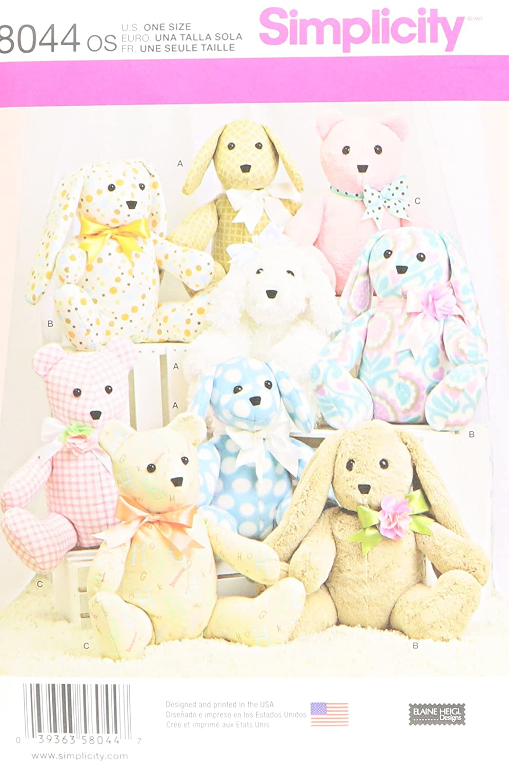 Simplicity Creative Patterns US8044OS Simplicity Patterns Two-Pattern Piece Stuffed Animals Size: Os (One Size), 8044 OUTLOOK GROUP CORP