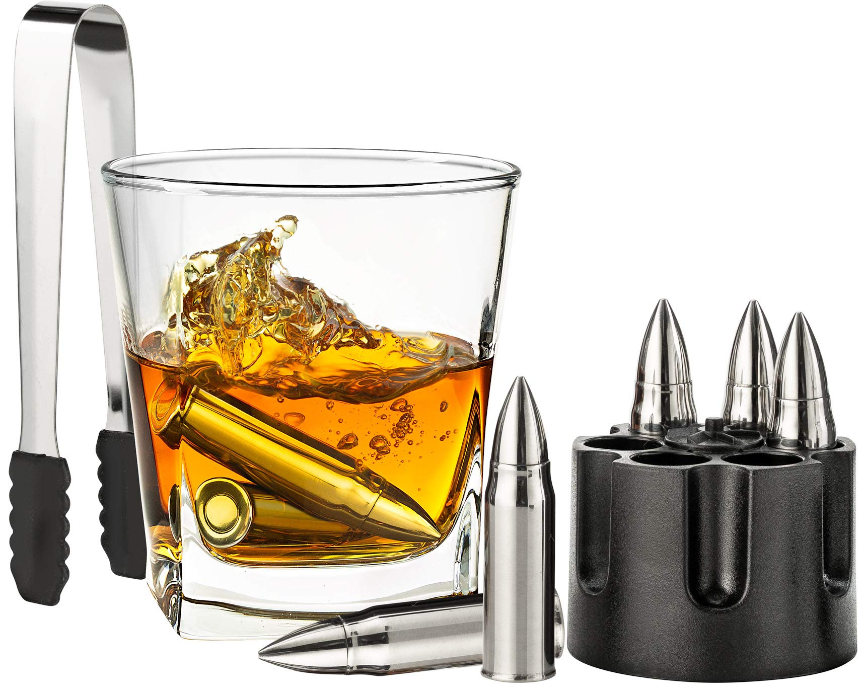 Whiskey Stones – Personalized Gifts for Men – Stainless Steel Whiskey Bullet Rocks – Bourbon Ice Bullet Molds – Premium Chilling Rocks + Freezer Pouch – Set of 6 Bullet-Shaped Drink Rocks