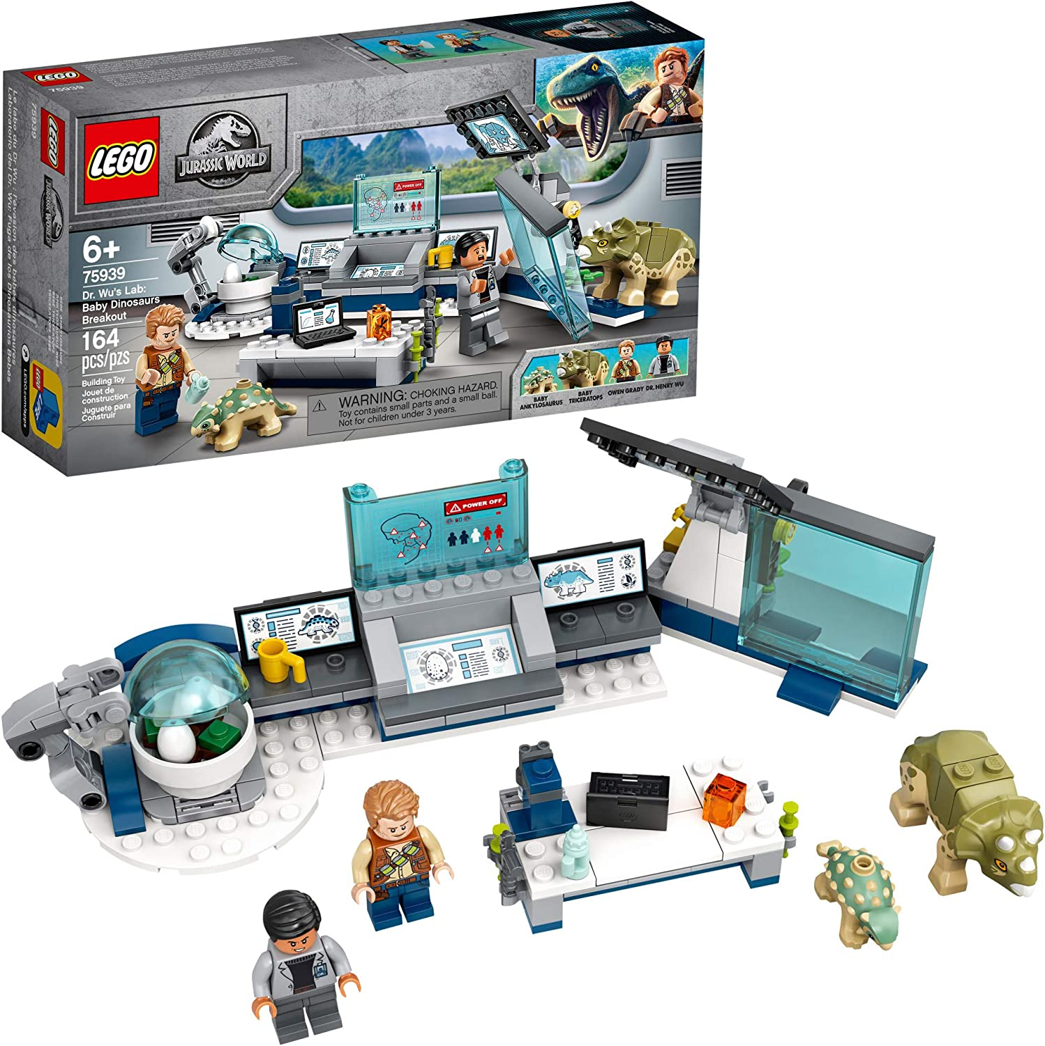 LEGO Jurassic World Dr. Wu's Lab: Baby Dinosaurs Breakout 75939 Fun Dinosaur Toy Building Kit, Featuring Owen Grady, Plus Baby Triceratops and Ankylosaurus Toy Dinosaur Figures, New 2020 (164 Pieces)