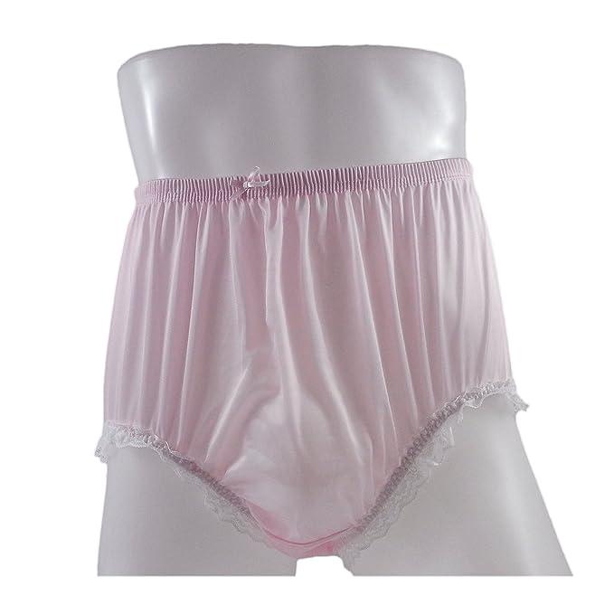 24abda69f091 NQH02D04 Fair Pink Handmade Lace Briefs Nylon Plain New Knickers Panties  Underwear Lingerie Men Women (
