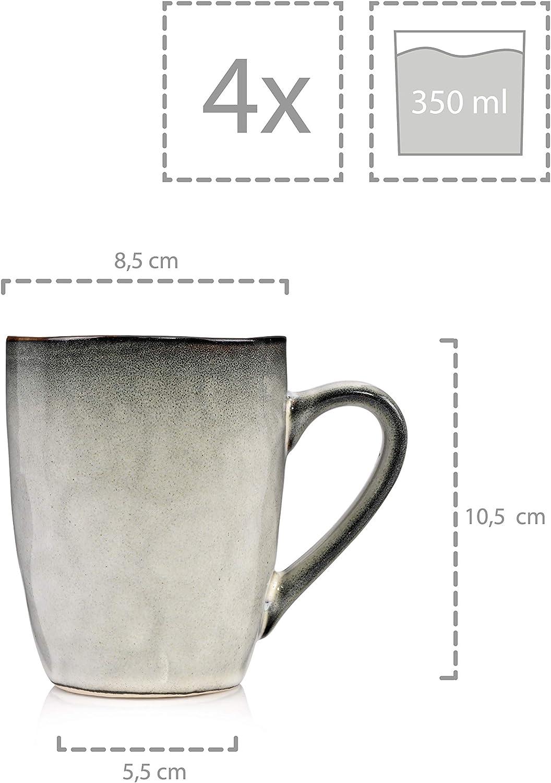 F/üllmenge der Schalen 1200 ml S/änger/Pastaschalen/Capri aus Porzellan 4 teilig f/ür 4 Personen Tellerset im Vintage-Stil Blau Porzellanservice/ Geschirrset
