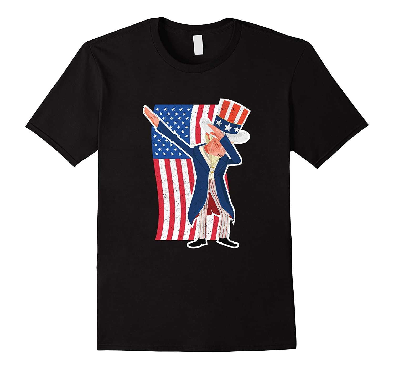 d983265c4da48 Funny Uncle Sam Dabbing 4th of July American Flag T-Shirt-PL – Polozatee