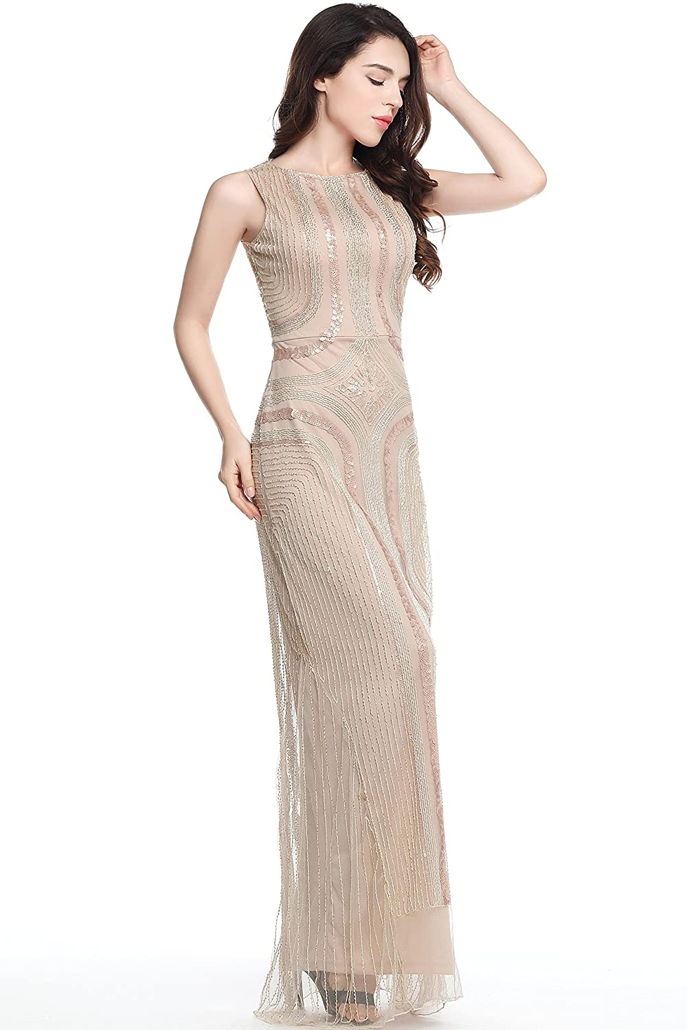 1920s Clothing BABEYOND 1920s Flapper Fancy Dress Roaring 20s Gatsby Dress Costume Vintage Sequin Beaded Long Evening Dress $39.99 AT vintagedancer.com