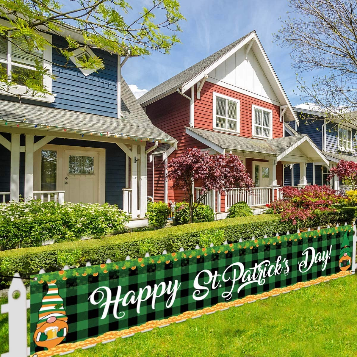 Large Happy St Patrick's Day Banner St Patricks Day Swedish Gnome Decoration Backdrop St Paddy's Day Garden Yard Sign Irish Party Decor and Supplies