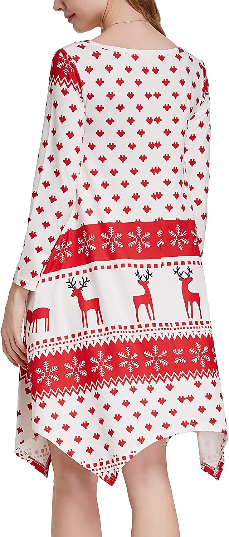 Invug Women Casual Loose Soft Crewneck Long Sleeve Pockets Swing T-Shirt Dress