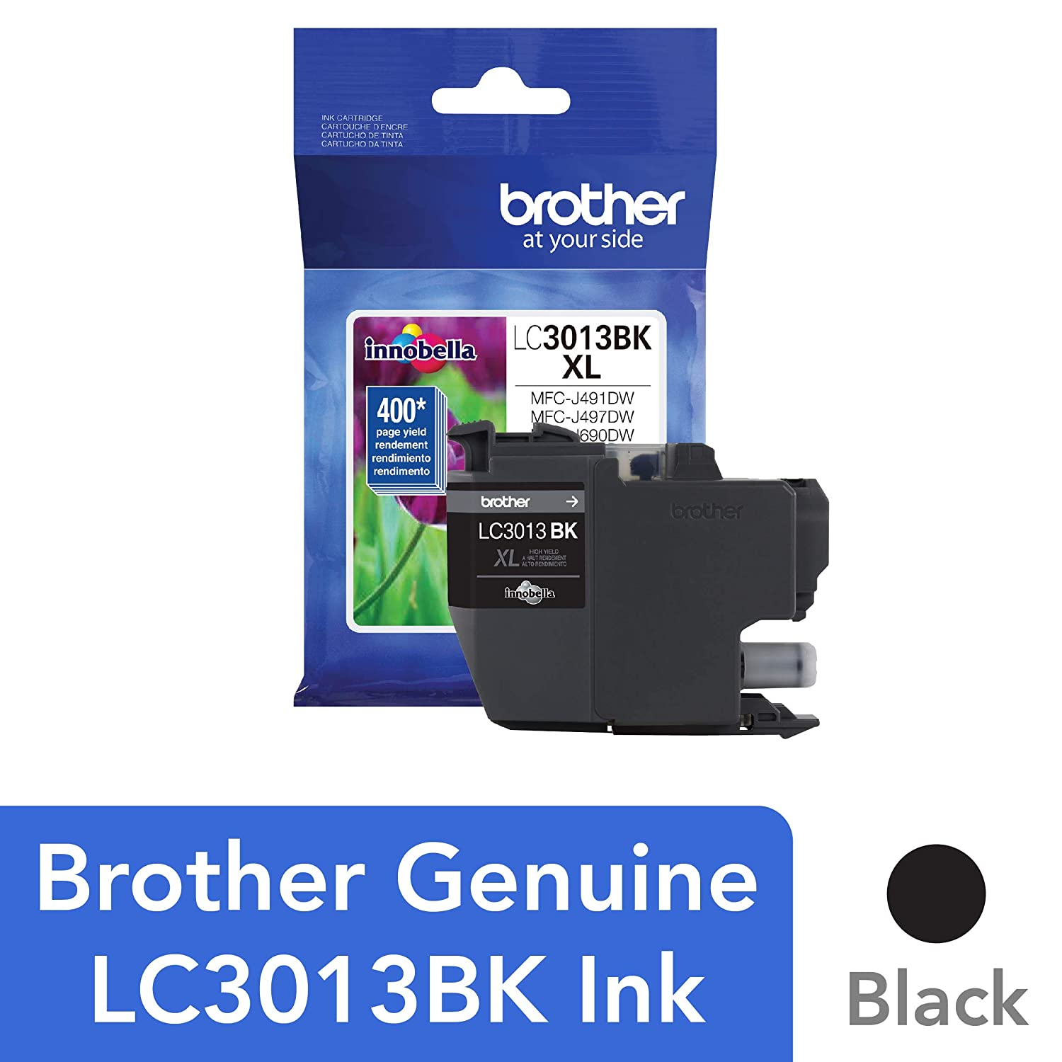 Brother Printer High Yield Ink Cartridge Page Up To 400 Pages Black (LC3013BK)